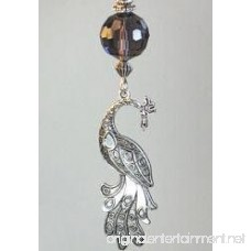 Purple Rhinestone and Faceted Glass with Silvery Metal Peacock Ceiling Fan Pull Chain - B00W8AXIAE