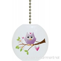 Whimsical Owl on Limb Solid Ceramic Fan Pull - B071LKW952