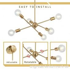 BONLICHT Modern Sputnik Chandelier Lighting 6 Lights Brushed Brass chandelier Mid Century Pendant Lighting Gold Ceiling Light Fixture for Hallway Bar Kitchen Dining Room - B07BC93SNW