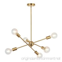 BONLICHT Modern Sputnik Chandelier Lighting 6 Lights Brushed Brass chandelier Mid Century Pendant Lighting Gold Ceiling Light Fixture for Hallway Bar Kitchen Dining Room - B07BC93SNW