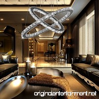 Chandeliers Led Neutral light chandelier Crystal Glass Chandelier Pendant Ceiling Lighting Fixture with Two Rings(40+60cm) for Dining Room  Living Room  Bedroom Study Room - B07BDFQWQ1