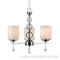 CO-Z Brushed Nickel 3 Light Chandelier  Contemporary Ceiling Lighting Fixtures for Dining Room Hallway with K9 Crystal Balls  w/Satin Etched Cased Opal Glasss Shade - B076PBJBV7