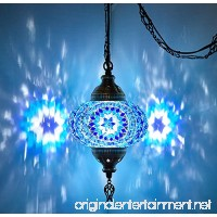DEMMEX Turkish Moroccan Mosaic Hardwired Or Swag Wall Plug in Chandelier Light Ceiling Hanging Lamp Pendant Fixture (1 X 6.5 Globe - Swag) - B07CKQ7TRW