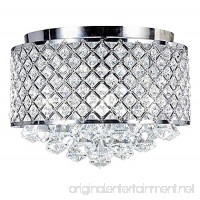 Diamond Life 4-light Chrome Finish Round Metal Shade Crystal Chandelier Flush Mount Ceiling Fixture - B01HFFAXEU