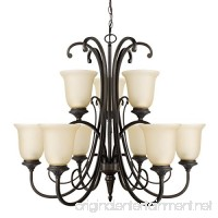 Globe Electric 65572 Beverly 9-Light Chandelier  Dark Bronze Color  Satin Finish  Amber Glass Shades - B01EHKWQ1E