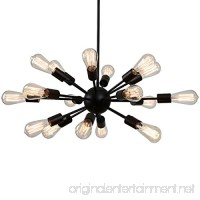 Industrial Pendant Light - 18-Light Adjustable Metal Sputnik Chandelier - Black - B071K3NQ41