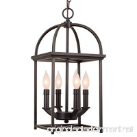 "Kira Home Amesbury 21"" Foyer Lantern 4-Light Chandelier  Bronze Finish with Hand-Painted Gold Trims - B01NAJYOVG"