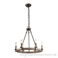 LNC 6-Light Transitional Chandelier Lighting Wood Chandelier Circular Pendant Lights E26 - B078GKBKF9