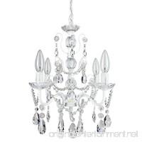 Madeleine White Crystal Chandelier  Mini Swag Plug-In Glass Pendant 4 Light Wrought Iron Ceiling Lighting Fixture Lamp - B00U5VXP06