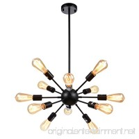 mirrea Sputnik Chandelier Vintage Edison Light Fixture Industrial Starburst Lighting with 12 Lights for Living Room Kitchen Dining Room Black Paint Finished Metal - B0742H9LGF