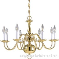 Progress Lighting P4357-10 8-Light Americana Chandelier with Delicate Arms and Decorative Center Column and Candelabra Lamps Polished Brass - B001BQGVG4