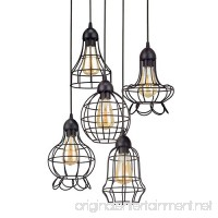 "Revel/Kira Home Wyatt 15"" Rustic Industrial 5-Light Adjustable Cage Metal Multi-Pendant Chandelier  Black Finish - B06XHP34H3"