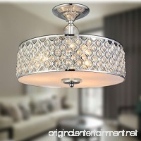 "Saint Mossi Chandelier Modern K9 Crystal Raindrop Chandelier Lighting Flush mount LED Ceiling Light Fixture Pendant Lamp for Dining Room Bathroom Bedroom Livingroom 3E12 Bulbs Required H11"" W15.4"" - B01LY7MK9E"