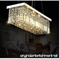 "Siljoy L40"" x W10"" Rectangle Modern Crystal Chandelier Lighting Raindrop Pendant Light Dining Room Kitchen Island Hanging Lamp - B00NJDGKUE"