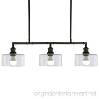 "Stone & Beam Black Industrial Chandelier  22""H  Glass Shades - B07374QGD8"