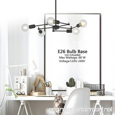 VINLUZ 5-Light Mid Century Sputnik Chandelier Lighting Black Kitchen Ceiling Lights Fixtures Industrial Modern Pendant Lighting for Dining Room Living Room Hallway - B07BFTDH1K