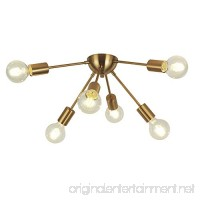 VINLUZ 6-Light Sputnik Chandelier Brass Mid Century Modern Ceiling Light Retro Chandelier Lighting for Kitchen Dining Room Bedroom Hallway Foyer - B078KKWFFX