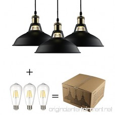 GALYGG Black Industrial Pendant Lighting Metal Shade Ceiling Hanging Light Fixtures for Kitchen Island - 3 Pack (Included 4W Edison Bulb) - B076H1XHZQ