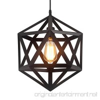 HOMIFORCE Vintage Style 1 Light Black Geometric Pendant Light with Metal Shade in Matte-Black Finish-Modern Industrial Edison Style Hanging for Kitchen Island Close to Ceiling (Olbers Black) - B076NQN1SX
