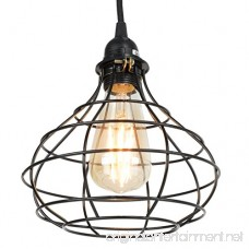 Industrial Cage Pendant Light with 15' Black Fabric Plug-in Cord and Toggle Switch Includes Edison LED Bulb in Black - B01N6EAYBY