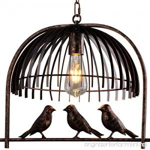 Industrial Retro Birdcage Bronze Pendant Lighting - Battaa CTI5010 (2018 New Design) Creative Lovely Birds Chandelier Vintage Loft Metal Ceiling Lamp For Bedroom Restaurant Cafe Bar 2-Year Warranty - B01MRGAJ3Y