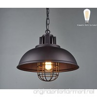 Light Industrial Metal Pendant Lighting  Oil Rubbed Bronze Finish Pendant Dimmable LED Bulb Included W13×H 67.3 inches - B0792R1YQK