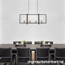 Light Society Paradigm 4-Light Kitchen Island Pendant Matte Black with Antique Brass Finish Geometric Modern Industrial Chandelier (LS-C249-BK) - B07BS3R92Y