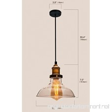 Lucia Lighting Pendant Ceiling Light Mid-Century Vintage Industrial Bronze Pendant Design with Clear Glass Shade; Masterpiece Lighting Fixture - B01B073AIU