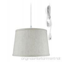 Plug-In Pendant Light By Home Concept - Hanging Swag Lamp Textured Oatmeal Shade - Perfect for apartments  dorms  no wiring needed (Textured Oatmeal  White One-light) - B016E2R31G