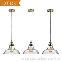 Salking Industrial Hanging Lamp Vintage Edison Glass Pendant Light Adjustable Hanging Height(Fabric Cord) Antique Brass Brushed Antique Socket Modern Vintage Farmhouse Kitchen Lamp 3-PACK - B074W7RJ5Q