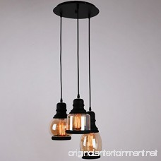 Unitary Brand Antique Black Shade Glass Jar Pendant Light Max 120W With 3 Lights Painted Finish - B00X9SU8KM