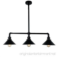 UNITARY BRAND Black Antique Rustic Metal Shade Hanging Ceiling Pendant Light Max. 120W With 3 Lights Painted Finish - B0144KMODC