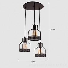 Unitary Brand Rustic Black Metal Cage Shade Dining Room Pendant Light with 3 E26 Bulb Sockets 120W Painted Finish - B01G8PMJH2