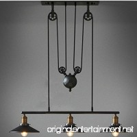WINSOON Industrial Vintage Chandeliers Pulley 3 Light Pendant lighting Fixture for Pool Table Farmhouse Kitchen Island Bar Retro Hanging Lamp 3 Heads Black Painted - B0171IU184