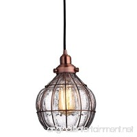 YOBO Lighting Vintage Cracked Glass Rustic Wire Ceiling Pendant Light Red Antique Copper - B0179CDWL0