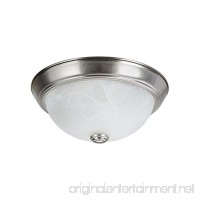 Aspen Creative 63013-1 Two-Light Flush Mount In Brushed Nickel with White Alabaster Glass Shade - B01N78AKS9