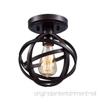Dazhuan Antique 1-Light Metal Globe Chandelier with Cage Flush Mount Ceiling Lamp Light Fixture - B01L1T0GYS