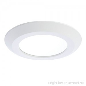 Halo SLD 5 in. or 6 in. Matte White Integrated LED Low Profile Recessed Surface Mount Disk Light 90 CRI 3000K Warm White - B00N4U0DDC