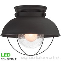 Kira Home Bayside 11 Industrial Farmhouse Flush Mount Ceiling Light + Bubble Glass Shade Matte Black Finish - B0736294Y4