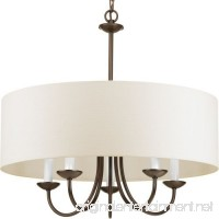 Progress Lighting P4217-20 5-Lt. Chain Hung Fixture Off-white linen fabric shade - B00DNZ52DO