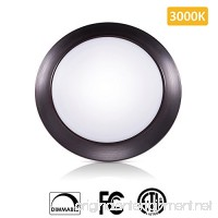 SOLLA 7.5 inch Dimmable LED Disk Light Flush Mount Ceiling Fixture with ETL FCC Listed  950LM  15W (90W Equiv.)  Warm White  3000K  Bronze Finish  Ultra-Thin  Round LED Light for Home  Hotel Office - B073Z7FQPM