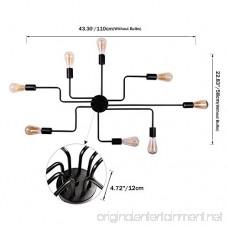 Unitary Brand Black Metal Steel Art Dining Room Flush Mount Ceiling light with 8 E26 Bulb Sockets 480W Painted Finish - B01H73KXDG