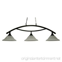 50 Black Metal Arch Style Pool Table Light - Lamp With White Glass Shades - B0754Q7J67