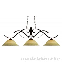 Bronze 3 Light Down Lighting Island / Billiard Fixture With Glass Round Shade - B074HN1RM5