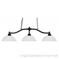 Bronze Chance 3 Light Bronze Island / Billiard Fixture With White Glass Dome Shade - B074H85FRJ