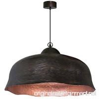 1-Light Dark Antique Brown & Cooper Wave Hanging Pendant Ceiling Fixture | 32 Large Wave Dome with Shiny Copper Interior Finish - Adjustable Hanging Max. 70 IN 60W - B07C5D3GCH