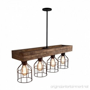 32 Pendant Lighting Chandeliers Kitchen Aged Wood Farmhouse Lighting Triple Wood Beam Vintage Decor Chandelier Light - Great in Kitchen Bar Industrial Island Billiard Foyer and Edison Bulbs - B07FTVCGGP