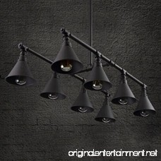 BAYCHEER HL424128 Vintage Industrial Style 8 Light Large Pipe Indoor Lighting Island Light Fixture Hanging Lamp with Cone Metal Black Shade use E26 Bulbs - B073DYF39T