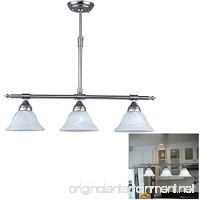 Brushed Nickel Island Pendant with Alabaster Glass Globes - B01AS1PROO