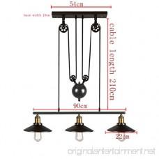 Dst Retro Pendant Retractable Chandelier Pendant Vintage Adjustable Hanging Ceiling Light Pendant Light for Island Dining Bar (Matte Black) - B0786G7KL1